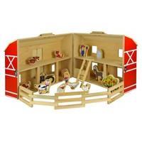 17 Piece Childrens Kids Wooden Farm Playset Miniature Figures Animals Toy Set