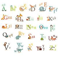 26 English Letters Wall Stickers Animals Kindergarten Wall Art Environmental PVC Children\'s Bedroom Wall Decals
