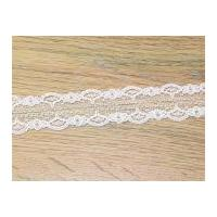 28mm Double Scalloped Edge Lace Trimming White