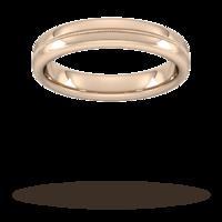 4mm Flat Court Heavy Milgrain Centre Wedding Ring in 18 Carat Rose Gold