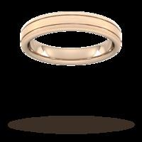 4mm Flat Court Heavy matt finish with double grooves Wedding Ring in 9 Carat Rose Gold