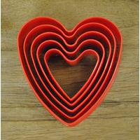 5 Piece Plastic Heart Cookie Cutter In Red by George East