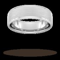 7mm D Shape Heavy polished chamfered edges with matt centre Wedding Ring in 9 Carat White Gold