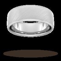 8mm Slight Court Extra Heavy diagonal matt finish Wedding Ring in 950 Palladium - Ring Size R
