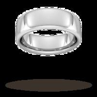 8mm Slight Court Extra Heavy Wedding Ring In 18 Carat White Gold