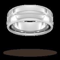 8mm Slight Court Standard Grooved polished finish Wedding Ring in 950 Palladium
