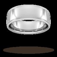 8mm Slight Court Standard polished finish with grooves Wedding Ring in Platinum