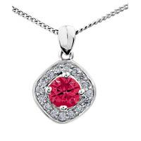 9ct White Gold Round Ruby and Diamond Cluster Pendant P2880W/40C-10 RUBY