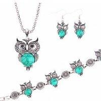 A Suit of Graceful Faux Gem Owl Necklace Bracelet and Earrings For Women
