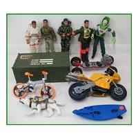 Action Man collection vehicles and five figures