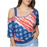American Flag Print Cold Shoulder Plus Size Top