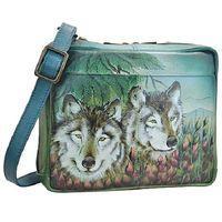 Anuschka Leather Western Wolf Crossbody Travel organizer / New Arrival