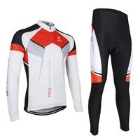 ARSUXEO Spring Autumn Cycling Clothing Set Sportswear Suit Bicycle Bike Outdoor Long Sleeve Jersey + Pants Breathable Quick-dry Men