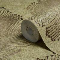 A.S. Creation Bohemian Burlesque Sage & Brown Feather Print Metallic Wallpaper