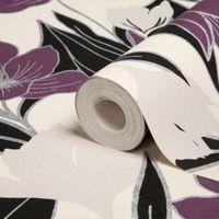 As Creation Genoa Cream & Purple Floral Wallpaper