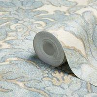 A.S. Creation Bohemian Burlesque Brown Latte & Soft Blue Large Damask Metallic Wallpaper