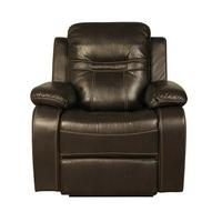 Barney Recliner Sofa Chair In Brown Faux Leather