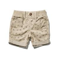 Baby boy 100% cotton lightweight elasticated waist all over car print turn up shorts - Stone