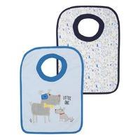 Baby boy little one dog print pop over bibs two pack - Blue