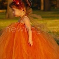 Baby Kids Girls Dress Orange Princess Party Skirt + Headwear Size S