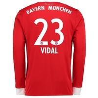 Bayern Munich Home Shirt 2017-18 - Long Sleeve with Vidal 23 printing, Red