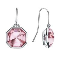 Baccarat Silver Pink Crystal Octagon Hook Earrings 2611978