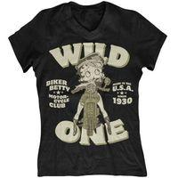 Betty Boop Women\'s V-Neck - Biker Betty T Shirt