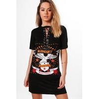 Bethany Lace Up Band T-shirt Dress - black