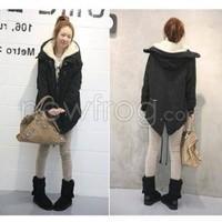 Black Women Thicken Fleece Faux Fur Winter Coat Hood Parka Overcoat Jacket