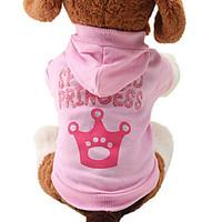 Cat / Dog Hoodie Pink Dog Clothes Spring/Fall Tiaras Crowns Cute / Fashion