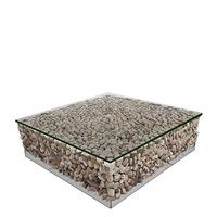 Caspian Avant Garde Driftwood and Glass Square Coffee Table