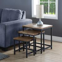 Clare Wooden Nest Of 3 Tables In Rustic Oak With Black Frame