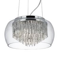 Clear Glass Shade 4 Light Pendant With Aluminium Spiral Tubes