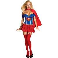 Corseted Super Girl Costume Sexy Womens Super Girl Halloween Costume Super Hero