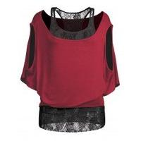 Cold Shoulder Lace Tee Panel Batwing Top