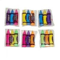 Crayon Erasers - 1 x Pack Of 3 Novelty Rubbers - Party Bag Fillers