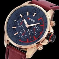 CURREN Men\'s Army Design Military Watch Japanese Quartz Leather Strap Cool Watch Unique Watch Fashion Watch