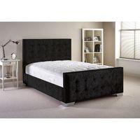 Delaware Velvet Bed and Mattress Set Black Velvet Fabric Small Single 2ft 6
