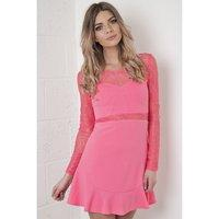 Drop Hem Skater Dress with Lace Detail in Pink