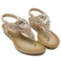 Elastic Band Rhinestones Faux Leather Sandals