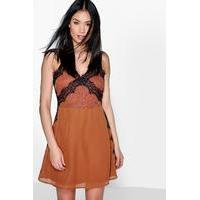 Emma Eyelash Lace & Chiffon Mini Slip Dress - spice
