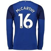 Everton Home Shirt 2017/18 - Junior - Long Sleeved with McCarthy 16 pr, Blue