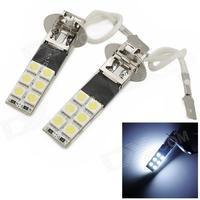 exLED H3 4.8W 144lm 12-SMD 5050 LED Cool White Light Car Backup / Foglight - (12V / Pair)