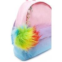 Faux Fur LED Rainbow Keychain