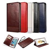 For iPhone 6 Case / iPhone 6 Plus Case Wallet / Card Holder / with Stand / Flip / Magnetic Case Full Body Case Solid Color Hard PU Leather