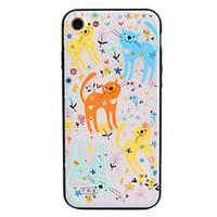 For Apple iPhone 7 7 Plus 6S 6 Plus Case Cover Cartoon Cat Pattern Crystal Relief Acrylic Backplane TPU Frame Combo Phone Case