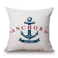 Fresh Style Anchor Letter Pattern Flax Sofa Pillow Case