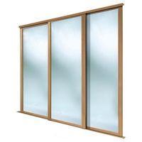 Full Length Mirror Natural Oak Effect Sliding Wardrobe Door (H)2223 mm (W)914 mm Pack of 3