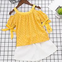Girls\' Hollow Sets, Cotton Summer Short Sleeve Clothing Set