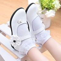 Girls\' Flats Flower Girl Shoes First Walkers Leatherette Spring Fall Outdoor Casual Walking Magic Tape Low Heel Rose Pink Black White Flat